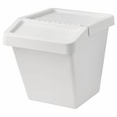 СОРТЕРА Бак мусорный, белый, 60 л